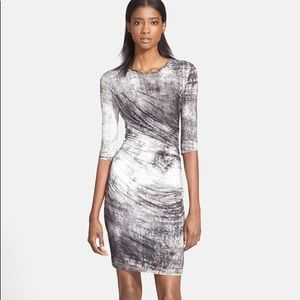 Helmut Lang Gray & White Marbled Dress
